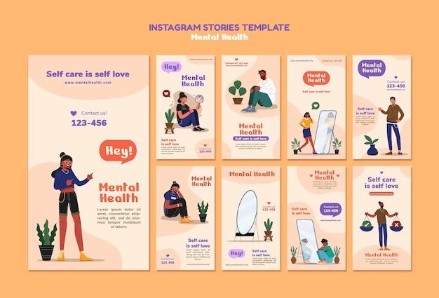 Modèle d'histoires instagram sur la santé mentale