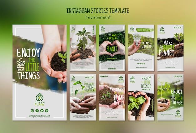 Modèle d'histoires instagram avec sauver la planète