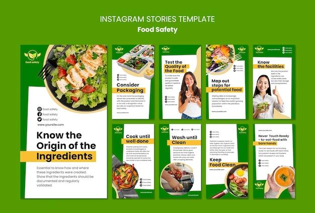 Modèle d'histoires instagram de sécurité alimentaire