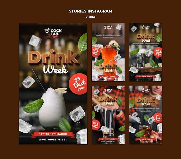 Modèle d'histoires instagram de semaine de boisson