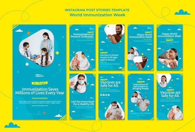 Modèle d'histoires instagram de la semaine mondiale de la vaccination