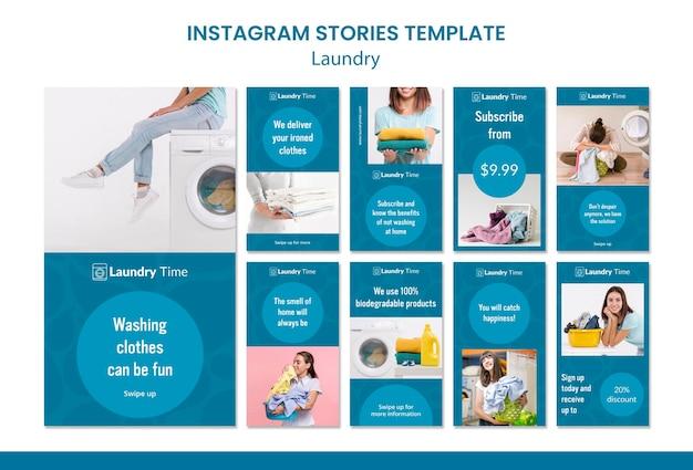 Modèle d'histoires instagram de service de blanchisserie