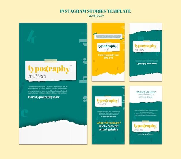 Modèle d'histoires instagram de service de typographie
