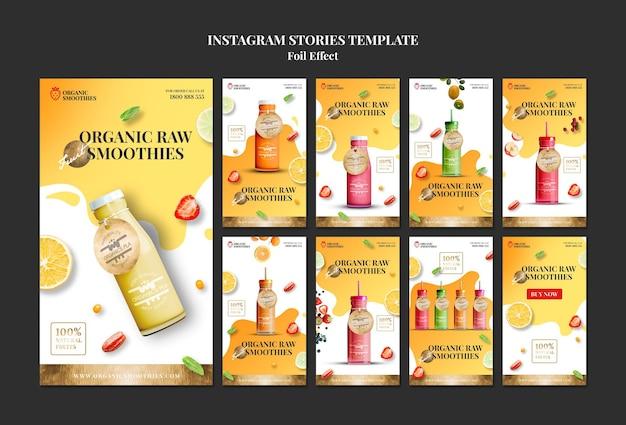 Modèle d'histoires instagram de smoothies bio