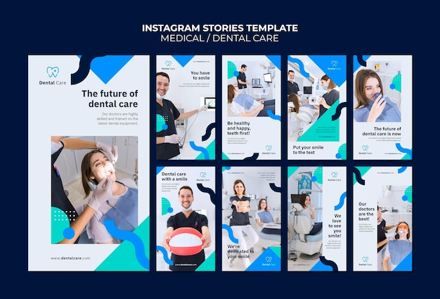 Modèle d'histoires instagram de soins dentaires