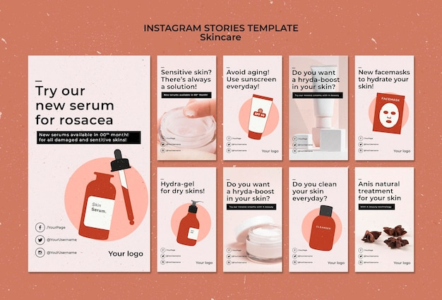 Modèle d'histoires instagram de soins de la peau avec photo