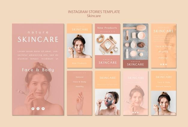 Modèle d'histoires instagram de soins de la peau