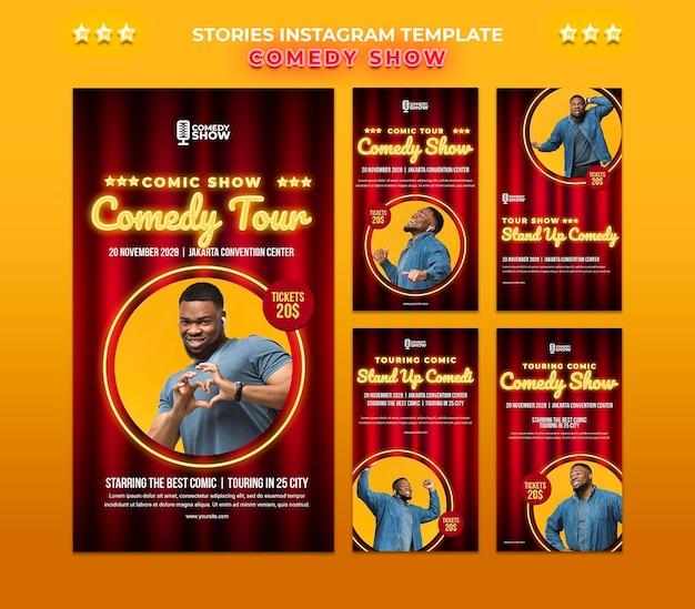 Modèle d'histoires instagram de spectacle de comédie