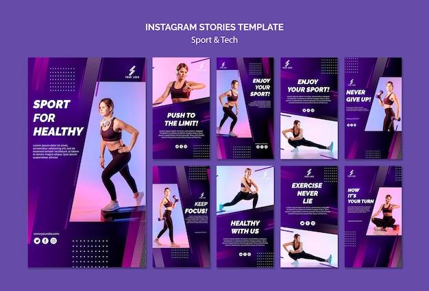 Modèle d'histoires instagram de sport et de technologie