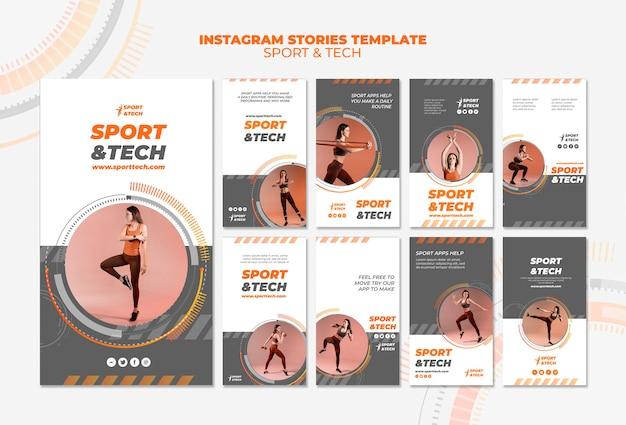 Modèle d'histoires instagram sport et technologie