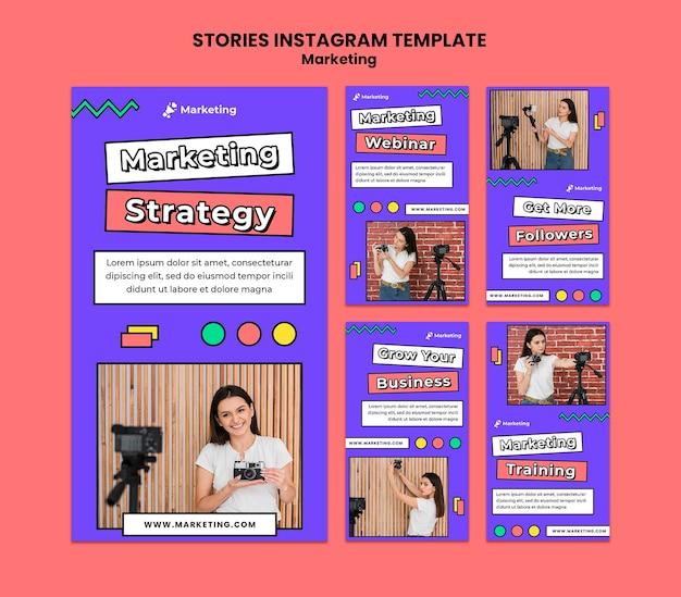 Modèle d'histoires instagram de stratégie marketing