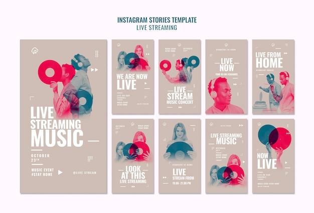 Modèle d'histoires instagram en streaming en direct