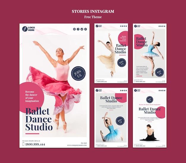 Modèle d'histoires instagram de studio de danse