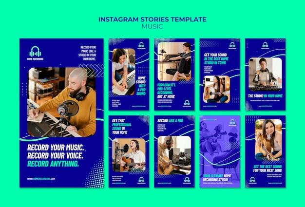 Modèle d'histoires instagram de studio de musique