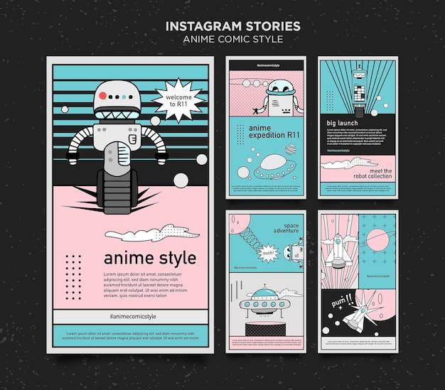 Modèle d'histoires instagram de style bande dessinée anime