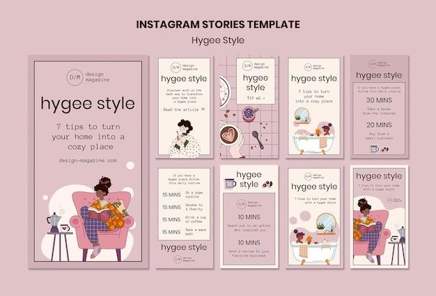 Modèle d'histoires instagram de style hygge