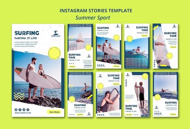 Modèle d'histoires instagram de surf d'été