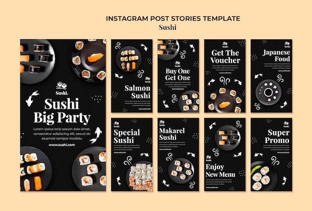 Modèle d'histoires instagram de sushi avec photo
