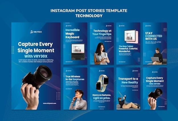 Modèle d'histoires instagram de technologie