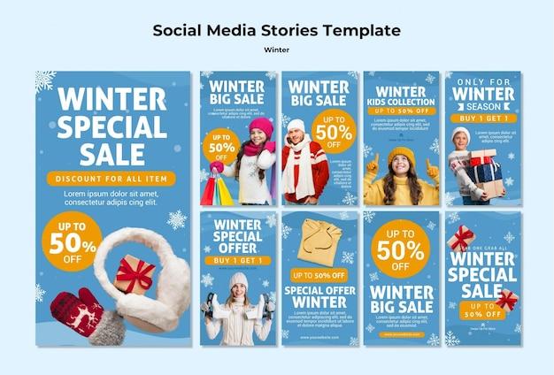 Modèle d'histoires instagram de temps en famille d'hiver