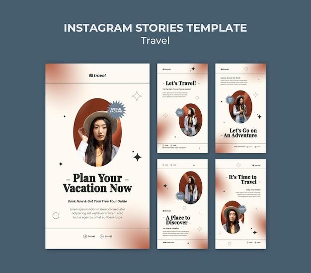 Modèle d'histoires instagram de temps de voyage