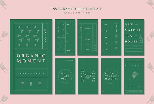 Modèle d'histoires instagram de thé matcha bio