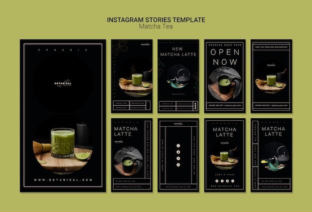 Modèle d'histoires instagram de thé matcha
