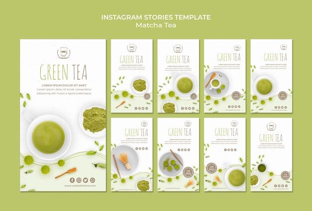 Modèle d'histoires instagram de thé vert