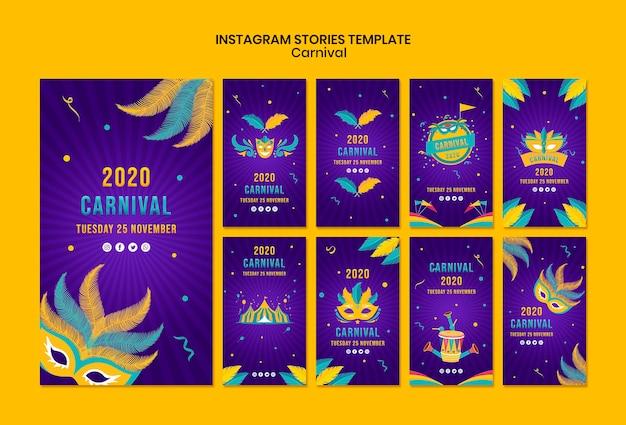Modèle d'histoires instagram avec le thème du carnaval