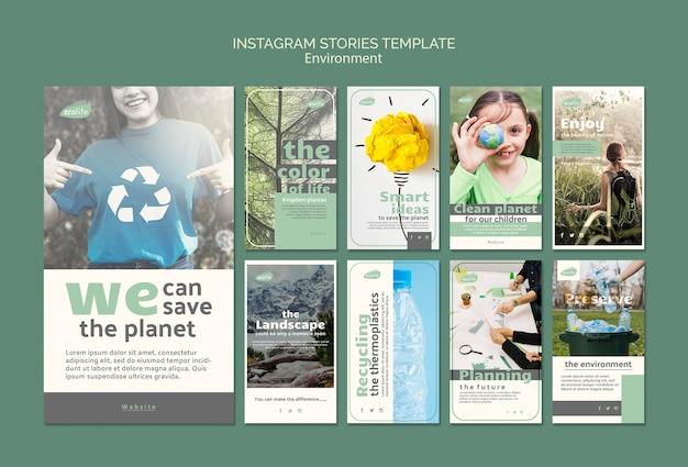 Modèle d'histoires instagram avec le thème de l'environnement