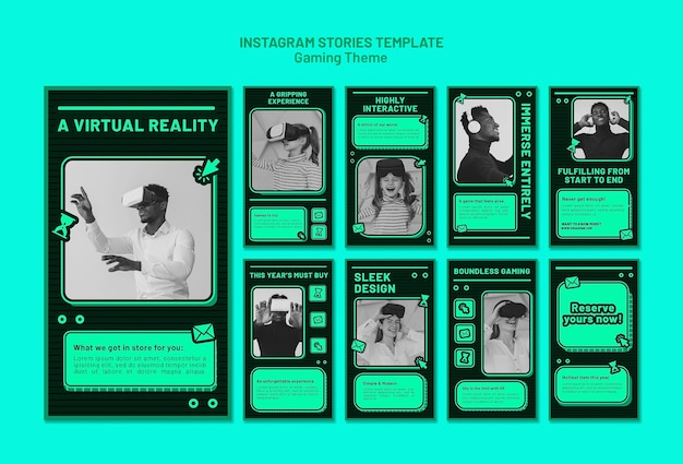 Modèle d'histoires instagram de thème de jeu