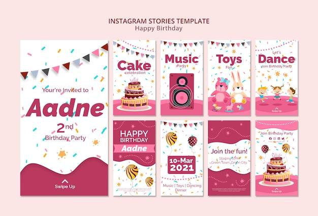 Modèle d'histoires instagram avec thème joyeux anniversaire