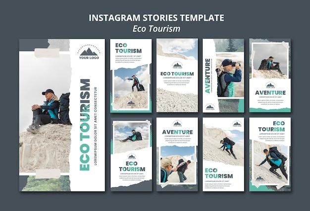 Modèle d'histoires instagram de tourisme écologique