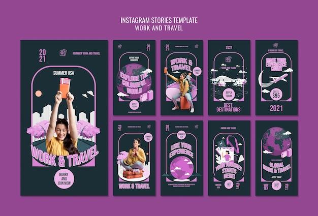 Modèle d'histoires instagram de travail et de voyage
