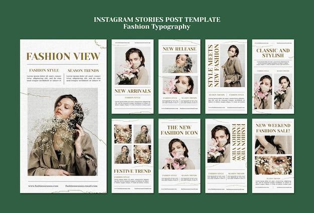 Modèle d'histoires instagram de typographie de mode