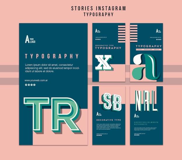 Modèle d'histoires instagram de typographie