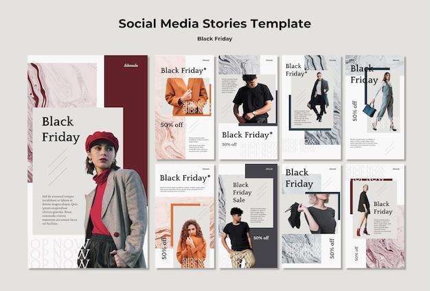 Modèle d'histoires instagram de vendredi noir