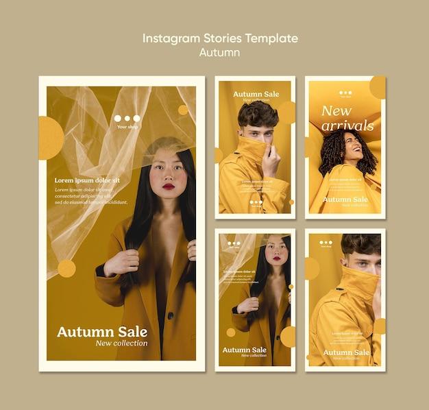 Modèle d'histoires instagram de vente d'automne