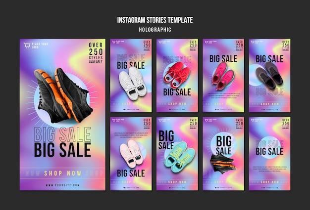 Modèle d'histoires instagram de vente de baskets