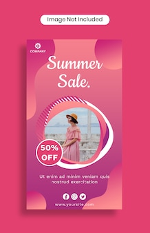 Modèle d'histoires instagram de vente d'été