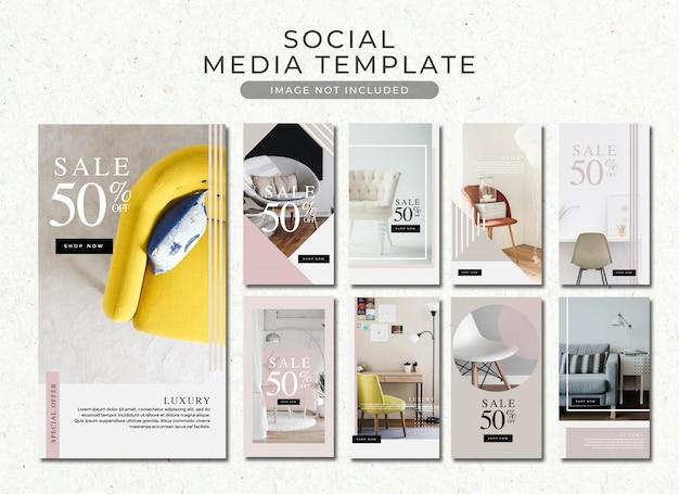 Modèle d'histoires instagram de vente de meubles minimalistes