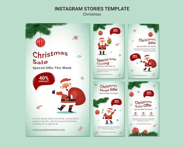 Modèle d'histoires instagram de vente de noël