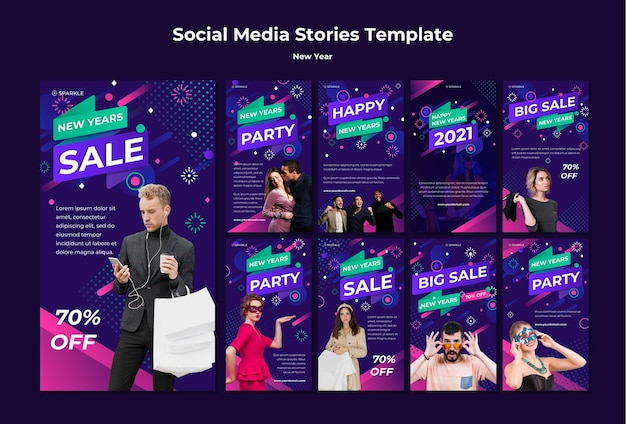 Modèle d'histoires instagram de vente de nouvel an