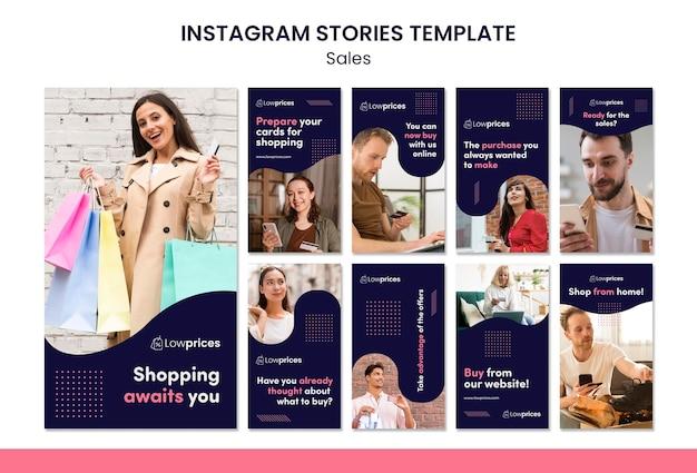 Modèle d'histoires instagram de vente avec photo