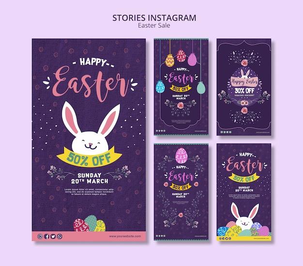 Modèle d'histoires instagram avec les ventes de pâques