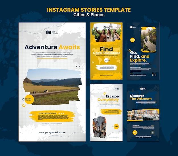Modèle d'histoires instagram de villes et de lieux