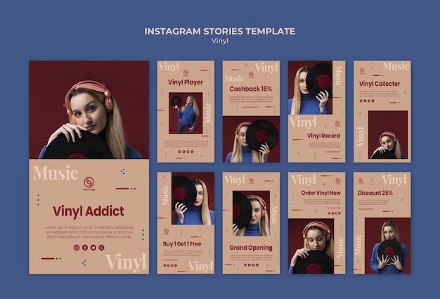 Modèle d'histoires instagram en vinyle