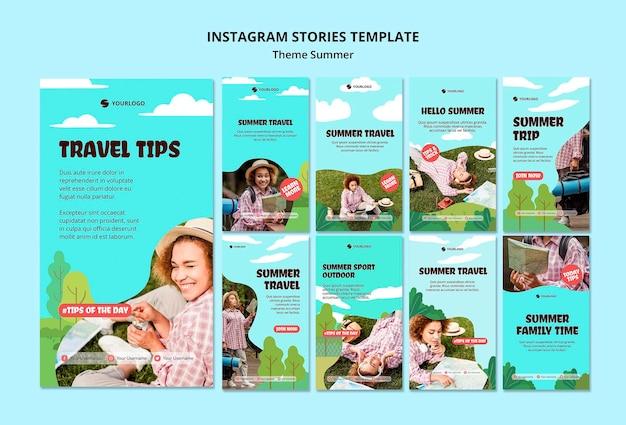 Modèle d'histoires instagram de voyage d'été