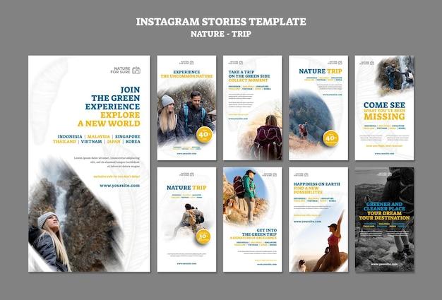 Modèle d'histoires instagram de voyage nature