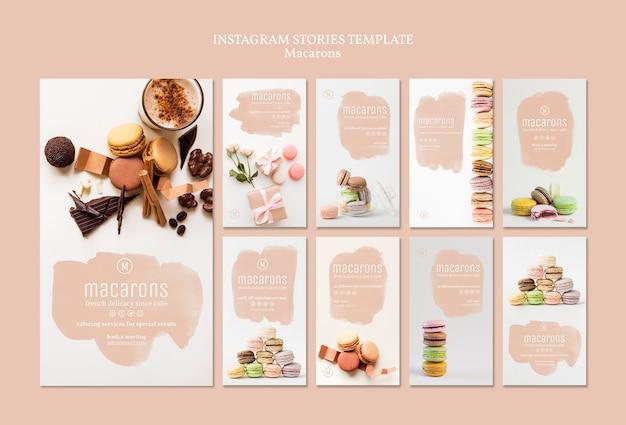 Modèle d'histoires instaragram macarons